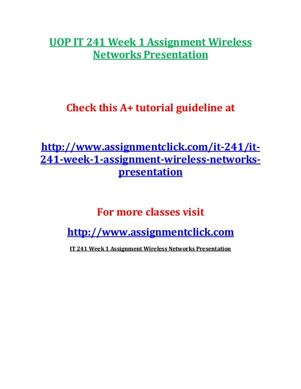 UOP IT 241 Week 1 Assignment Wireless Networks Pre