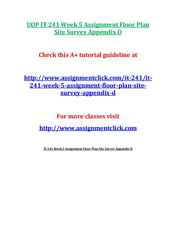 UOP IT 241 Week 5 Assignment Floor Plan Site Surve