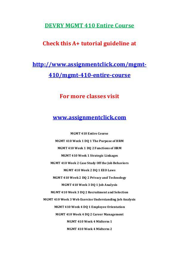 Devry MGMT 410  Entire Course DEVRY MGMT 410 Entire Course