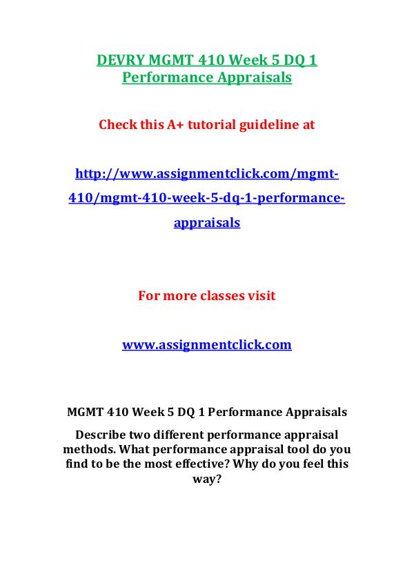 Devry MGMT 410  Entire Course DEVRY MGMT 410 Week 5 DQ 1 Performance Appraisals