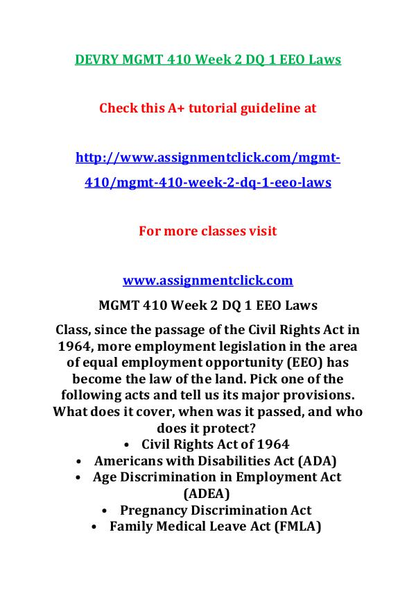 Devry MGMT 410  Entire Course DEVRY MGMT 410 Week 2 DQ 1 EEO Laws
