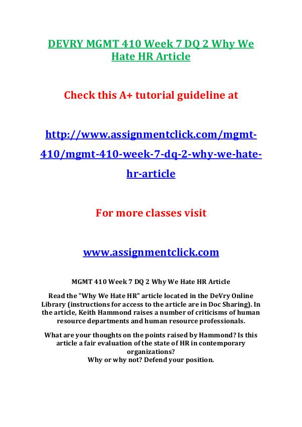 Devry MGMT 410  Entire Course DEVRY MGMT 410 Week 7 DQ 2 Why We Hate HR Article
