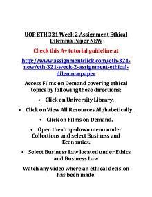 UOP ETH 321 Entire Course