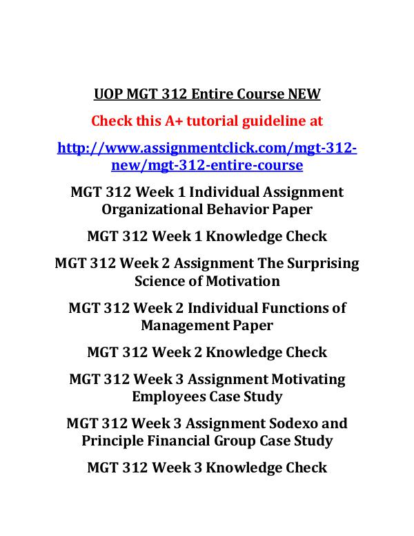 mgt 312 week 2 individual assignment Mgt 312 week 2 functions of management paper part 1 please complete a charter for your learning team please submit it as a separate attachment to the assignment link for this week.