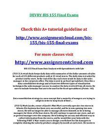 Devry BIS 155 entire course DEVRY BIS 155 Final Exams