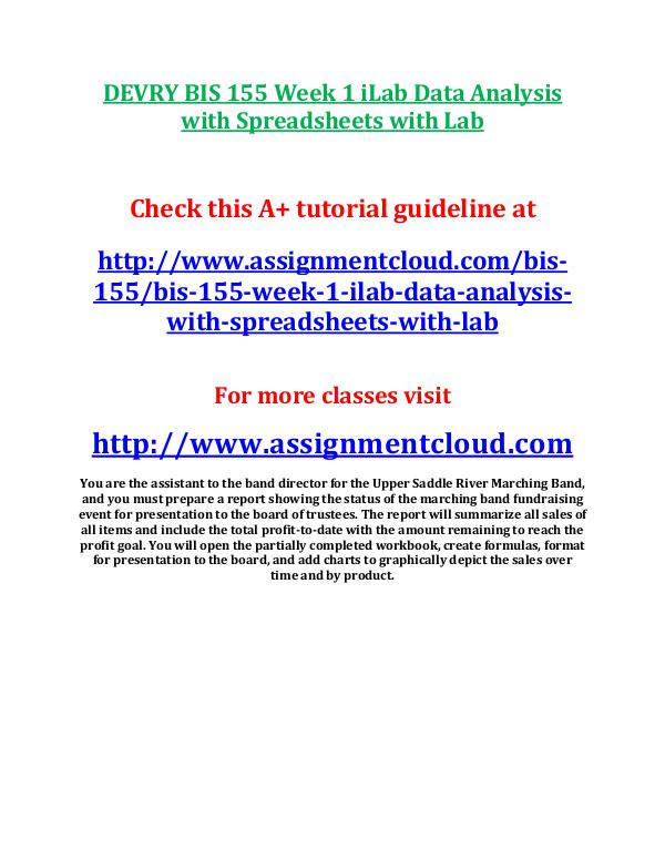 bis155 data analysis with spreadsheets with lab Bis 155 data analysis wsprdsh w/lab anonymous spreadsheets, and word documents what excel tools will you use to prepare the data for analysis.