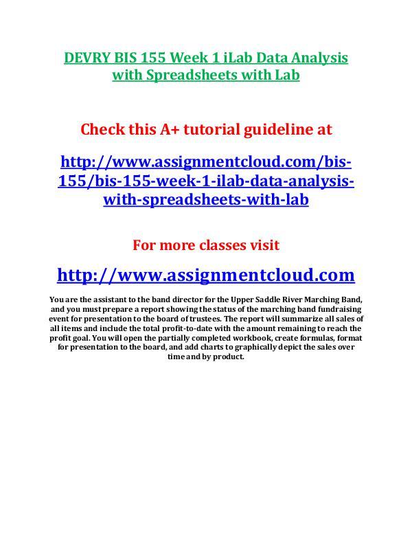 Devry BIS 155 entire course DEVRY BIS 155 Week 1 iLab Data Analysis with Sprea