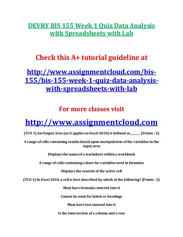 DEVRY BIS 155 Week 1 Quiz Data Analysis with Sprea