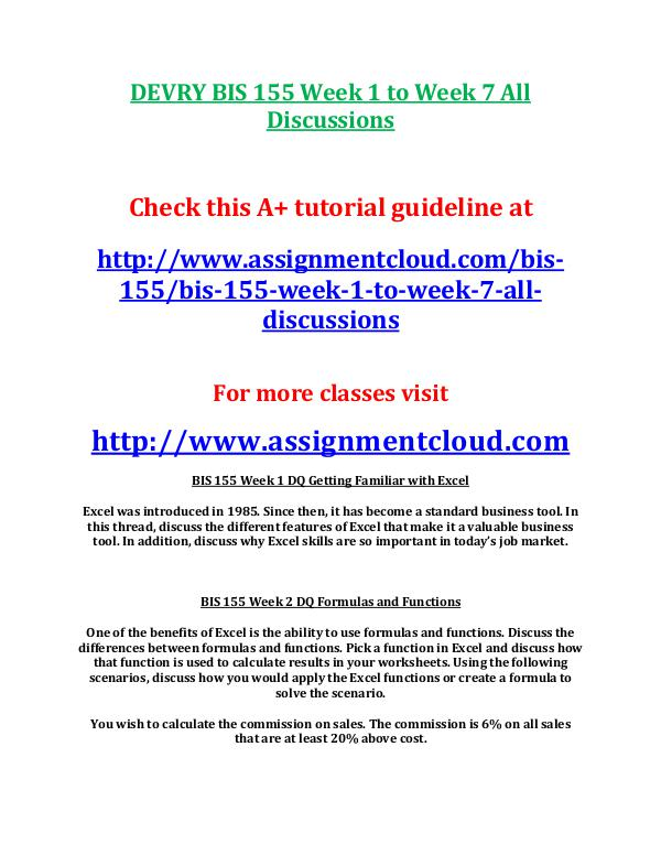 Devry BIS 155 entire course DEVRY BIS 155 Week 1 to Week 7 All Discussions