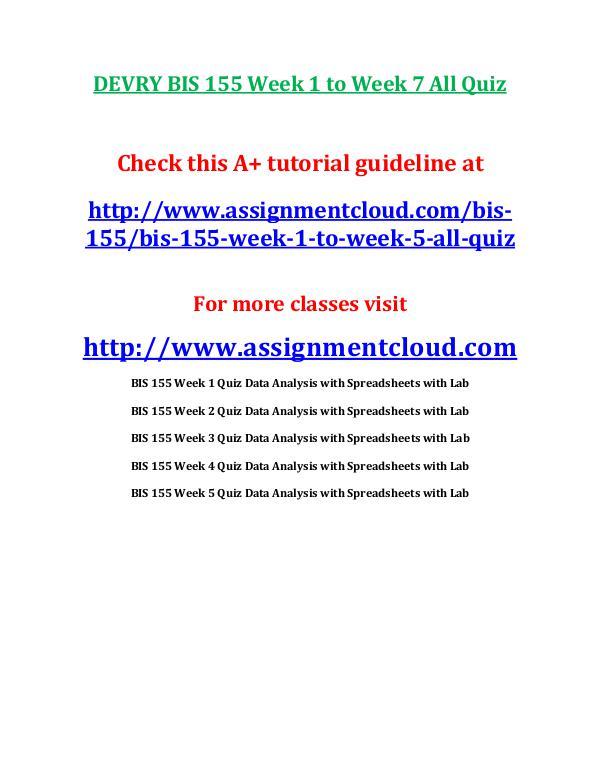 DEVRY BIS 155 Week 1 to Week 7 All Quiz