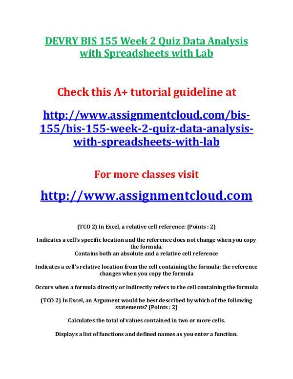 DEVRY BIS 155 Week 2 Quiz Data Analysis with Sprea
