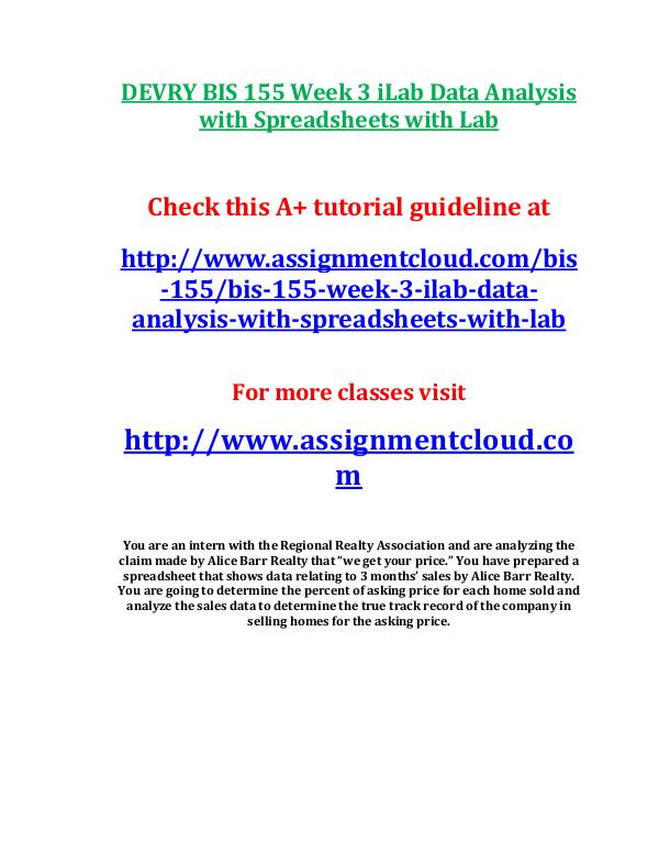 bis155 data analysis with spreadsheets with lab Bis 155 data analysis with spreadsheets with lab week 8 final exam practical problems with answers.