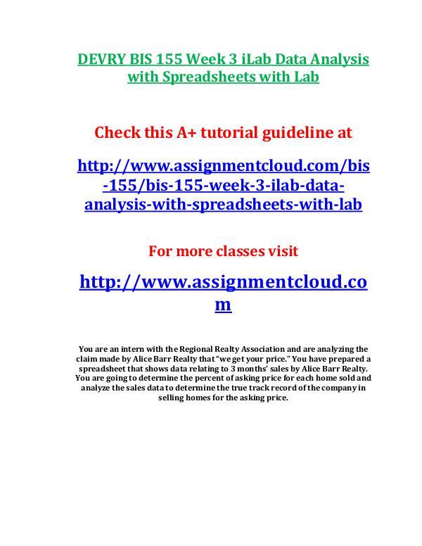 DEVRY BIS 155 Week 3 iLab Data Analysis with Sprea