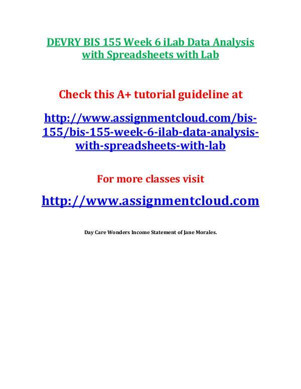 DEVRY BIS 155 Week 6 iLab Data Analysis with Sprea