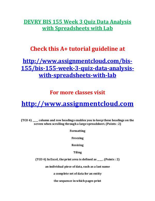 DEVRY BIS 155 Week 3 Quiz Data Analysis with Sprea