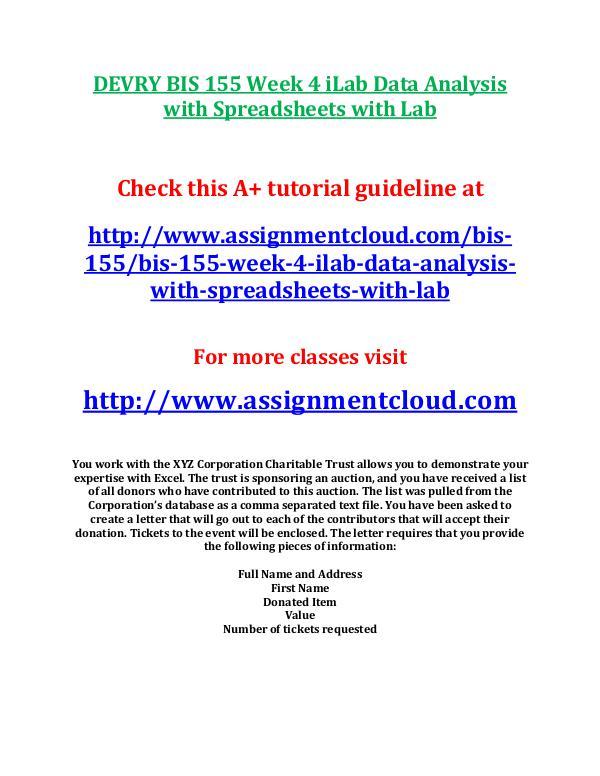 DEVRY BIS 155 Week 4 iLab Data Analysis with Sprea
