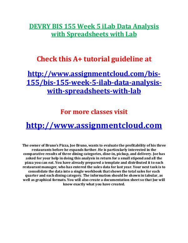 DEVRY BIS 155 Week 5 iLab Data Analysis with Sprea