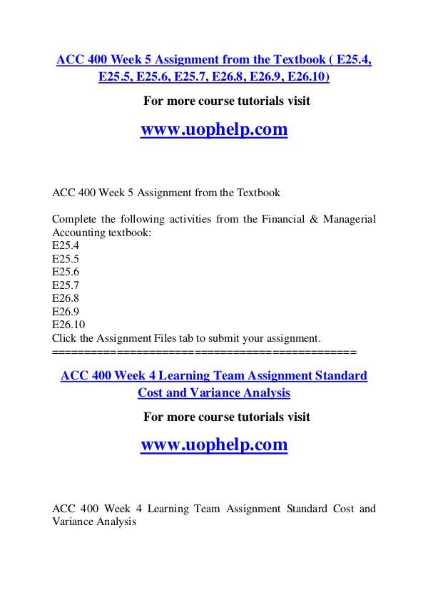 ACC 400 Endless Education /uophelp.com ACC 400 Endless Education /uophelp.com