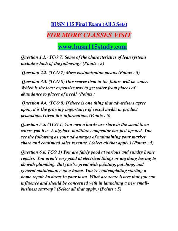 BUSN 115 STUDY Career Begins/busn115study.com BUSN 115 STUDY Career Begins/busn115study.com