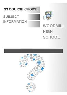 Woodmill High School S3 Course Choice
