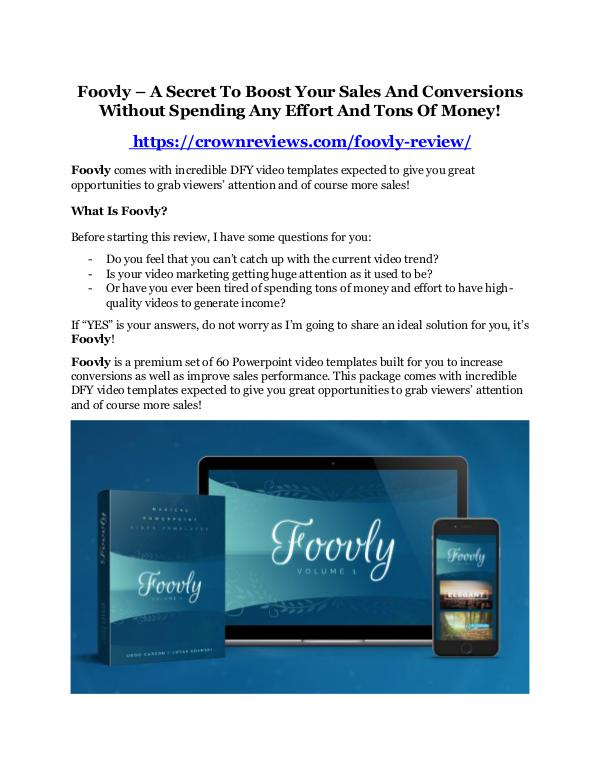 Foovly Review - MASSIVE $23,800 BONUSES NOW! Foovly Review - MASSIVE $23,800 BONUSES NOW!
