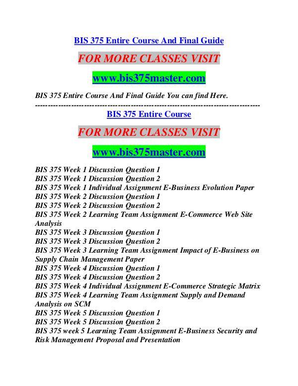 BIS 375 MASTER Career Begins/bis375master.com BIS 375 MASTER Career Begins/bis375master.com