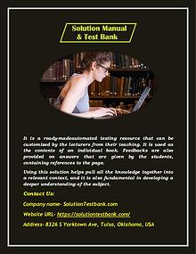 Buy Solution Instructor Manual & Test Banks Solutions Online