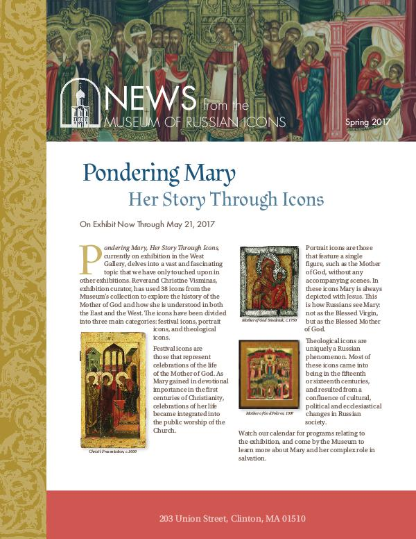 Museum of Russian Icons Newsletter Spring 2017 Volume 1