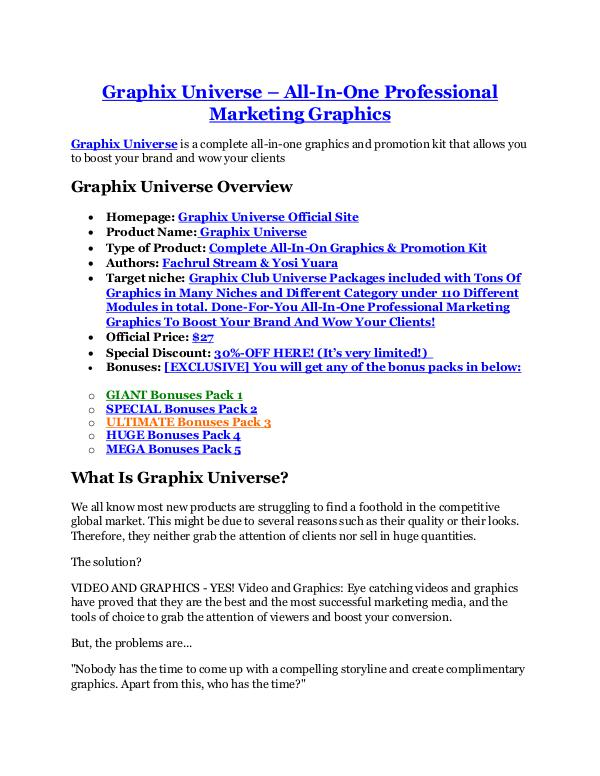 Graphix Universe Review-(FREE) $32,000 Bonus & Discount Graphix Universe review & (GIANT) $24,700 bonus