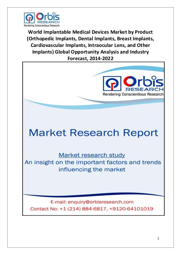 Market Research Reports Implantable Medical Devices Industry Worldwide