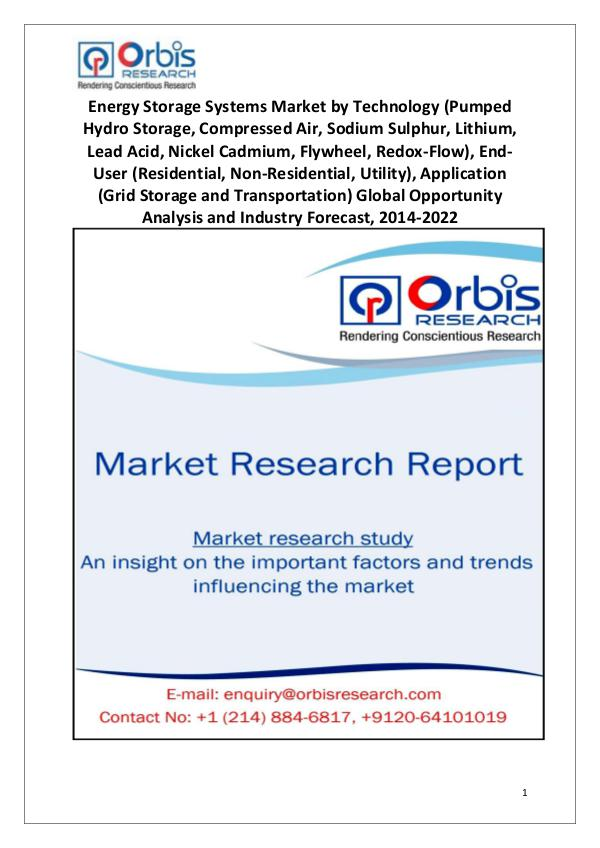 Market Research Reports 2014 Energy Storage Systems Market Globally