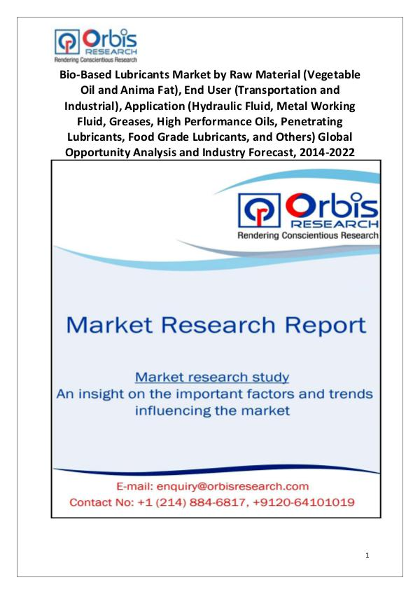 Market Research Reports 2014-2022 Global Bio-Based Lubricants Market