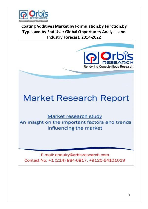 Market Research Reports Globally Coating Additives Industry 2014