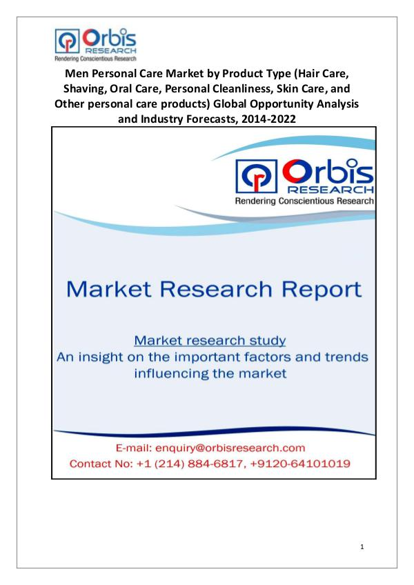 Market Report Study New Study: 2022 Global Men Personal Care Market