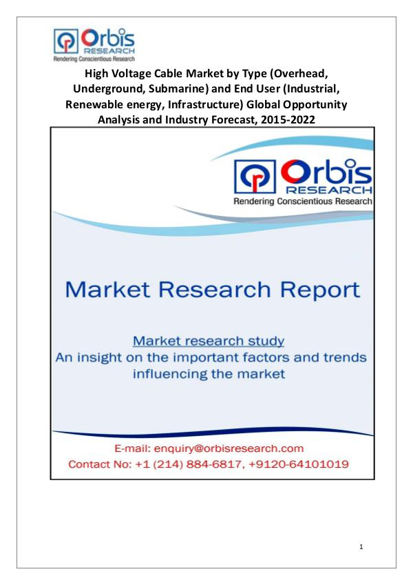 Market Report Study 2014-2022 Global High Voltage Cable Market