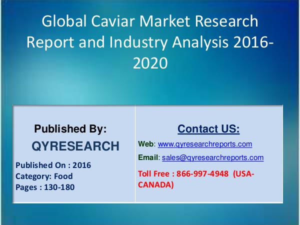 Global Caviar Industry 2016 Market valuable Source of Guidance and Di 5