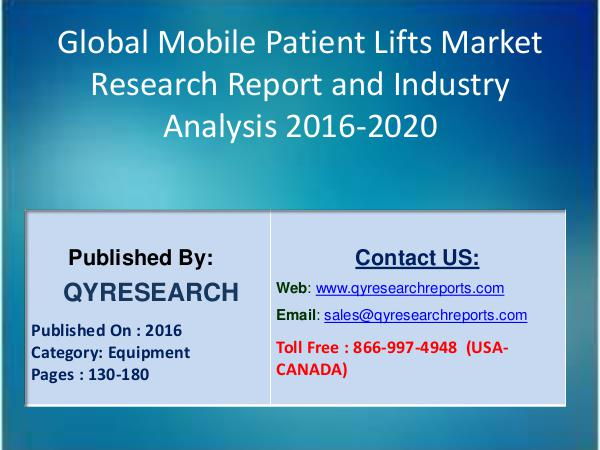 Mobile Patient Lifts Market 2016 Product Overview and Scope 8