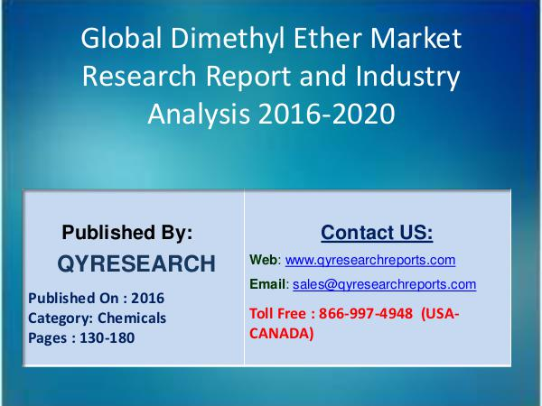 Global Dimethyl Ether Market 2016 Industry Growth, Research 3