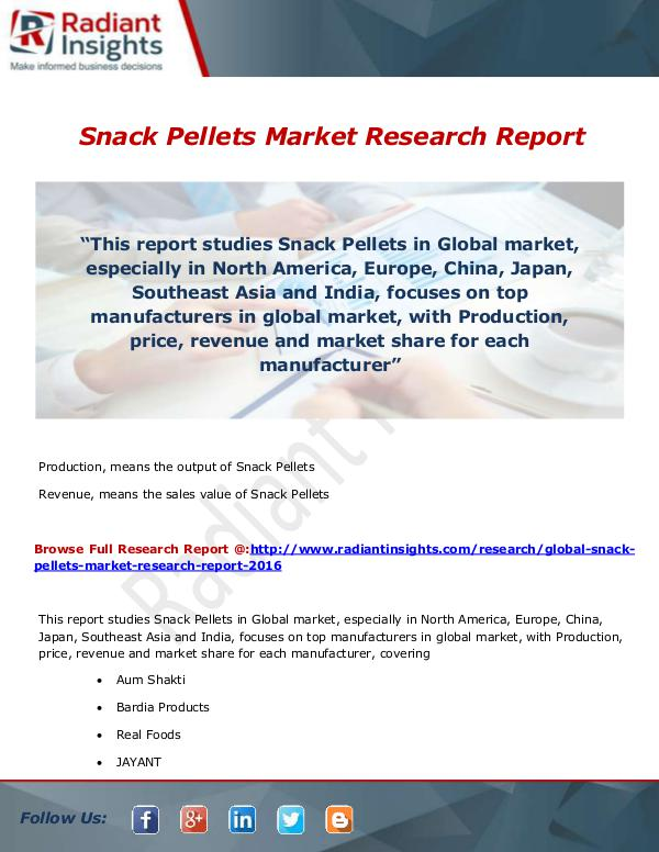 Research Analysis Reports Snack Pellets Market