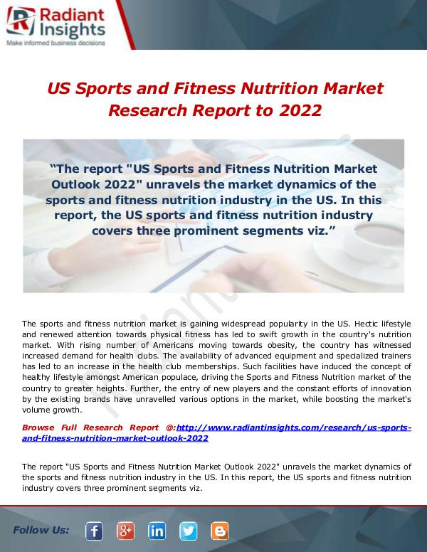 Research Analysis Reports US Sports and Fitness Nutrition Market 2022- Estim