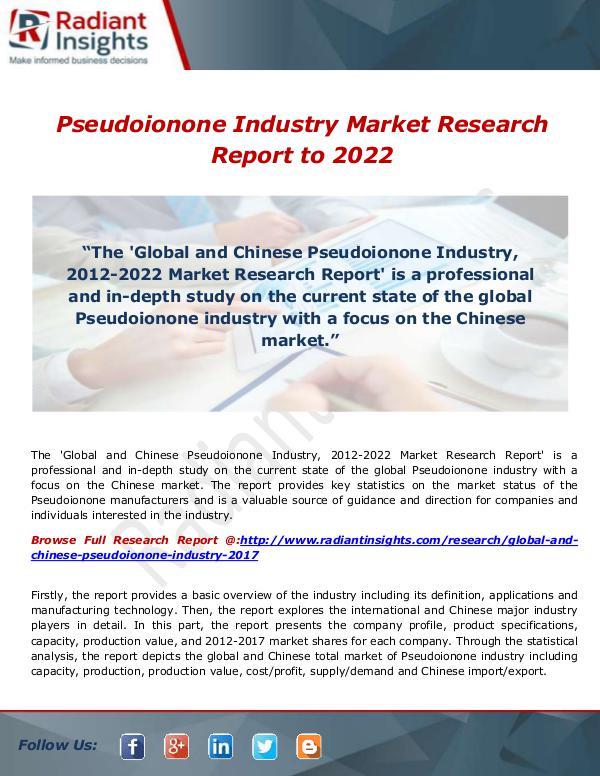 Pseudoionone Industry Market Research Report to 20