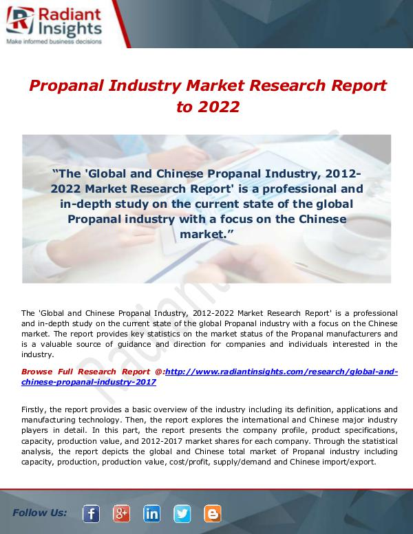 Research Analysis Reports Propanal Industry Market Research Report to 2022: