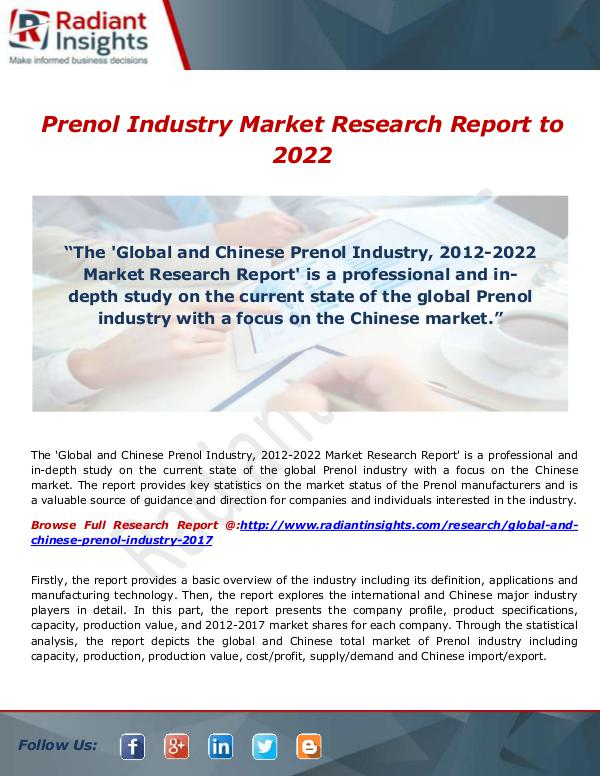 Research Analysis Reports Prenol Industry Market Research Report to 2022