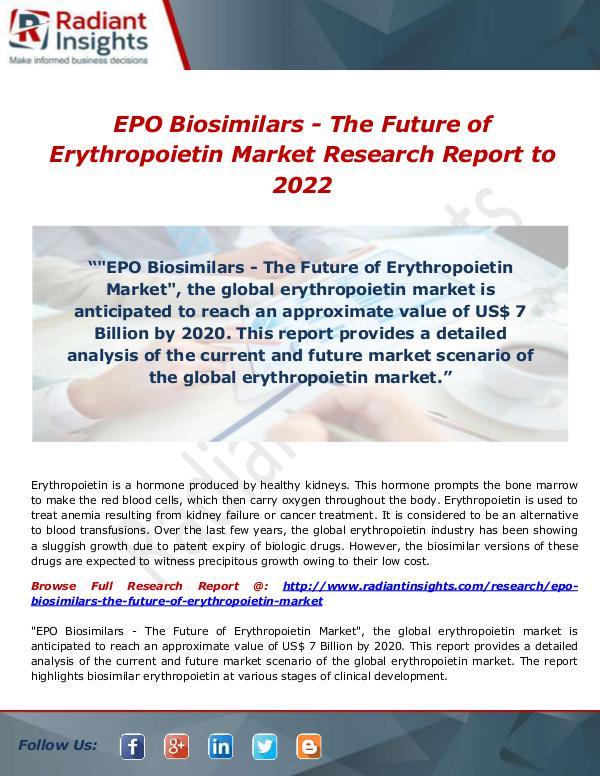 Research Analysis Reports EPO Biosimilars - The Future of Erythropoietin Mar