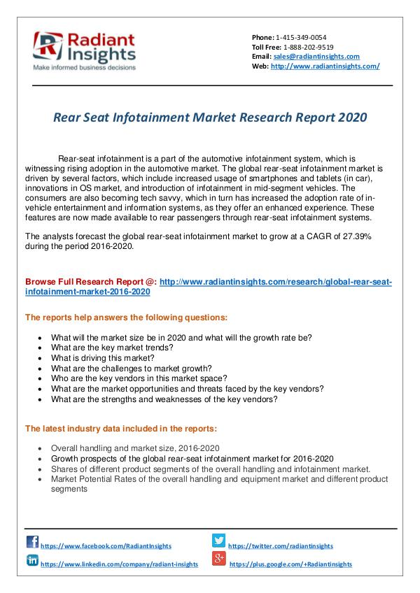 Research Analysis Reports Rear Seat Infotainment Market Research Report 2020
