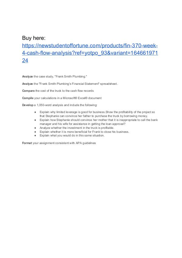 FIN 370 Week 4 Cash  Flow Analysis Homework Help