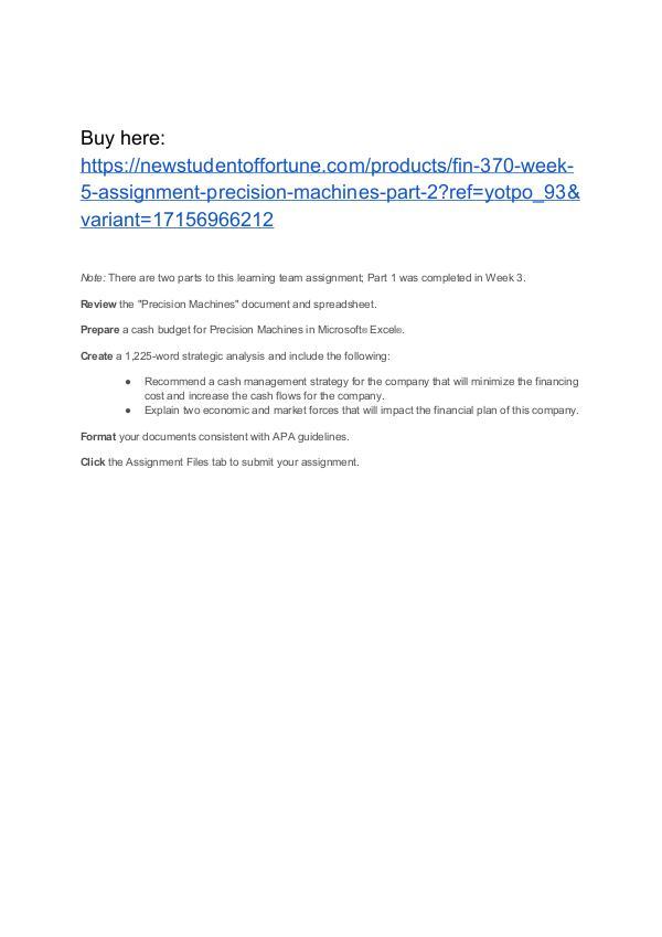 FIN 370 Week 5 Assignment Precision Machines Part 2 Homework