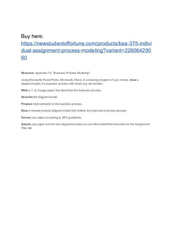 BSA 375 Individual Assignment Process Modeling Homework