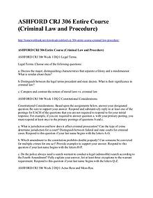 ASHFORD CRJ 306 Entire Course (Criminal Law and Procedure)