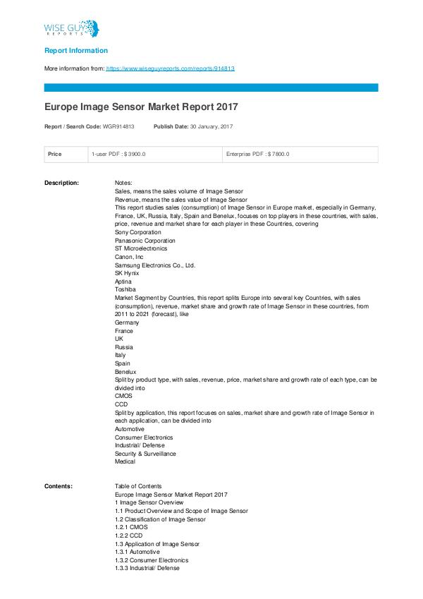 Europe Image Sensor Market Report 2017 Image Sensor Market